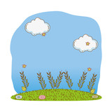bushes grass cute cartoon outdoors - 232144296