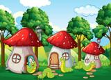 Caterpillar at the mushroom house - 232146018