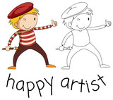 Doodle artist character on white background - 232147201