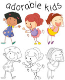 Group of doodle adorable kids - 232147803