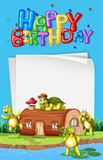 Turtle next to the house birthday template - 232148458