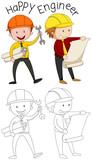 Doodle happy engineer character - 232148464