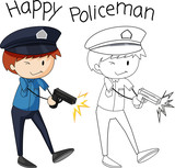 Doodle simple police character - 232148483