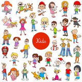 cartoon children characters large collection - 232148618