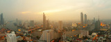 Panorama view Bangkok city skyline and River sunset in Asia Thailand - 232152689