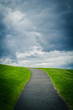 Natural background with a path up the hill, green grass and clouded sky