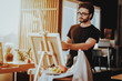 Portrait of Guy Painting on Easel Still Life