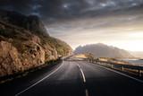 road by the sea in sunrise time, Lofoten island, Norway - 232160408