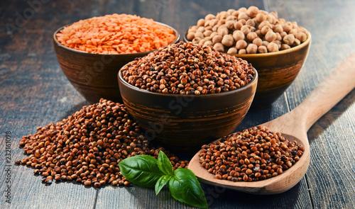 Foto Murales Composition with variety of vegetarian food ingredients