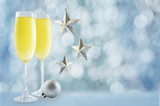 Champagne in in glasses with Christmas decoration - 232165006