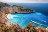 Navagio beach with shipwreck and flowers on Zakynthos island, Greece - 232166654
