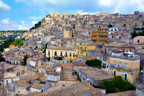 Poster panorama of modica seen from the bell tower of San Giorgio sicily italy