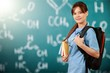 Leinwanddruck Bild - Attractive young female doctor with blurred hospital interior on