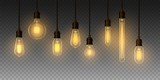 Set of realistic glowing lamp hanging on the wire. Incandescent lamp. Vector - 232175807