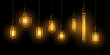 Set of realistic glowing lamp hanging on the wire. Incandescent lamp. Vector - 232175827