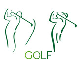 Green golf icons silhouette isolated on white, vector illustration