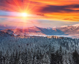 Majestic landscape in the winter mountains at sunrise. Dramatic and picturesque wintry scene. Retro filter. Filtered image: instagram toning effect. Happy New Year!  - 232177074