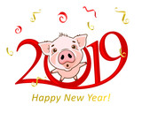 Cute funny pig. Happy New Year. Chinese symbol of the 2019 year. Excellent festive gift card. Illustration on white background. © marinaeisymont