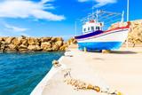 Fishing boat in Finiki port on Karpathos island, Greece - 232178428