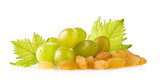 Raisins with grapes isolated