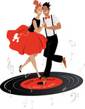 Cartoon couple in vintage clothing dancing rock-and-roll on a vinyl record, EPS 8 vector illustration - 232182464