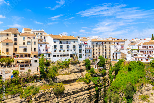Leinwanddruck Bild White houses in Ronda village in spring, Andalusia, Spain