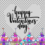 Valentines Day creative artistic hand drawn card. Vector illustration. Love, romantic template with hearts, lettering and sweets. - 232187017