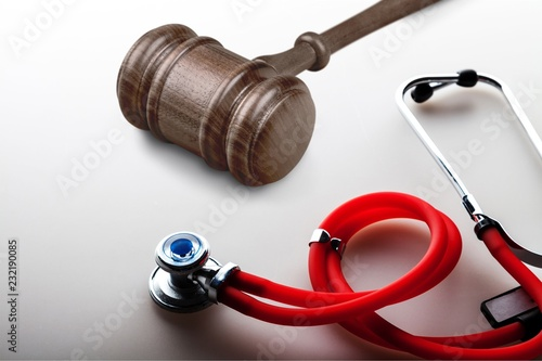 Leinwanddruck Bild Stethoscope equipment object on backgrouund