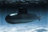 Submarine underwater, 3D rendering - 232190609