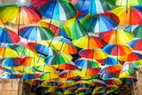 Decorative umbrellas in the streets of Bucharest, Romania - 232190645