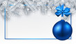 Christmas and New Year banner with fir branches and blue Christmas ball.
