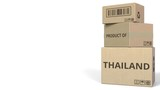 PRODUCT OF THAILAND text on cartons, blank space for caption. 3D animation - 232199481