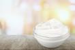 Leinwanddruck Bild - close up of a white beauty cream or yogurt on white background