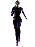 one young caucasian woman runner running jogger jogging isolated silhouette shadow on white background - 232208416
