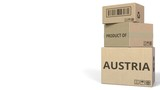 PRODUCT OF AUSTRIA caption on boxes. 3D animation - 232216226