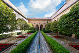 Small courtyard of Aljaferia palace in Zaragoza, Spain - 232218279