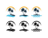 Set Vector Beautiful Sunset and Sunrise on the Waves of the Beach with palm trees and Flying Birds Sign Symbol Icon Traveling or Holiday Company Logo Template Design Inspiration - 232218626