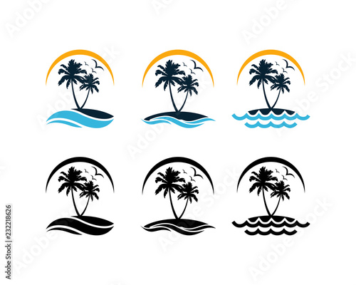 Set Vector Beautiful Sunset and Sunrise on the Waves of the Beach with palm trees and Flying Birds Sign Symbol Icon Traveling or Holiday Company Logo Template Design Inspiration