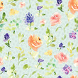 Seamless Floral Pattern. Repeating Watercolor Flower Background - 232219890