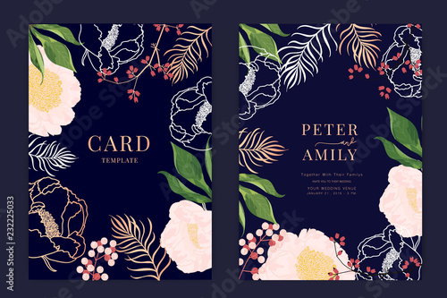 Wedding Invitation, floral invite thank you, rsvp modern card Design in white rose with red berry and leaf greenery  branches decorative Vector elegant rustic template - 232225033