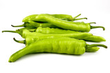 fresh green banana peppers or sweet peppers (capsicum annuum) isolated on a white background