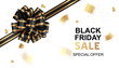 Black friday sale card template design. Vector illustration. Holiday background with black bow and gold confetti