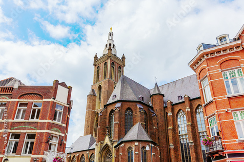 St Christopher's Cathedral seen from the market square in Roermond, Netherlands