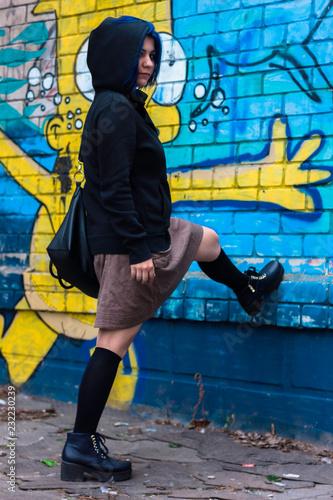 Portrait of street fashion girl