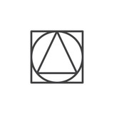 Triangle inside circle and square geometrical figure outline icon. linear style sign for mobile concept and web design. geometric shape simple line vector icon. Symbol logo illustration. Pixel perfect - 232232091