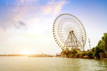 Ferris wheel and blue sky