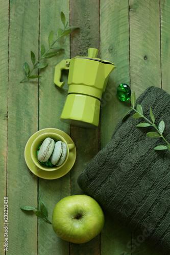 Poster flat green still life - coffee pot, apple, dessert