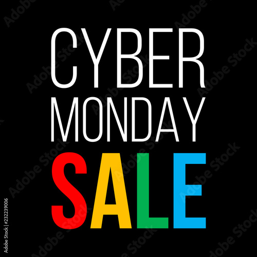 cyber monday sale, white and colorful vector text on black background