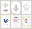 Elegant vertical winter holidays greeting cards with New Year tree, dove, reindeers, snowflake, Christmas ornaments and ornate typographic design.  - 232240665