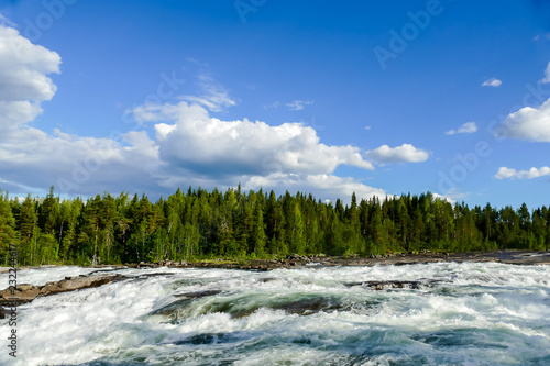 Wall mural landscape with river and clouds, in Sweden Scandinavia North Europe